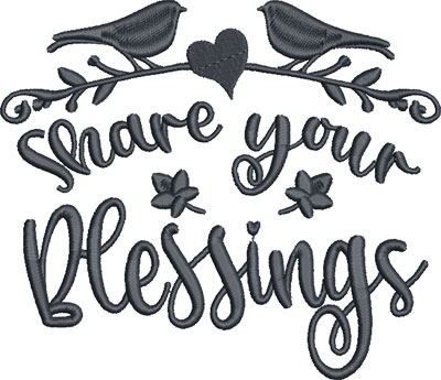 share your blessing embroidery design