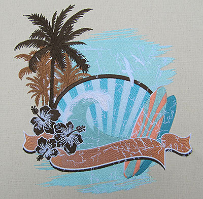 Vintage Surf embroidery design