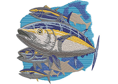 yellow fin tuna embroidery design