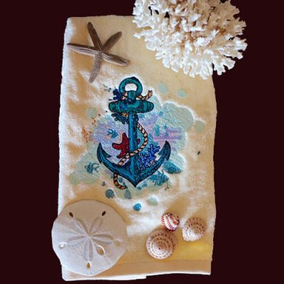 Free anchor embroidery design for towels