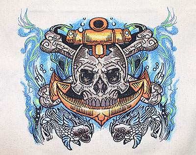 Anchor Skull embroidery design