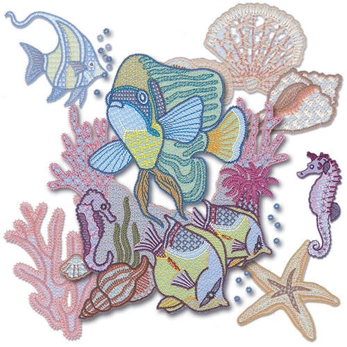 Coral Reef Embroidery Design Pack