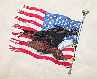 American Eagle with Flag embroidery design