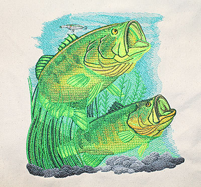 two bass fish embroidery design