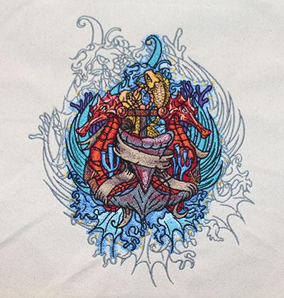 seahorse anchor embroidery design