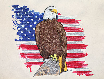 standing eagle embroidery design