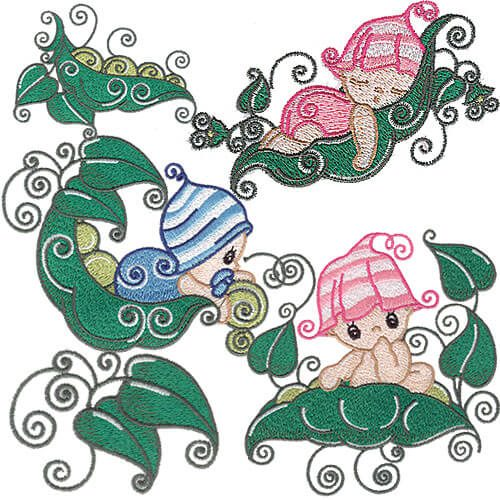 Sweet Pea Baby Embroidery Design Pack