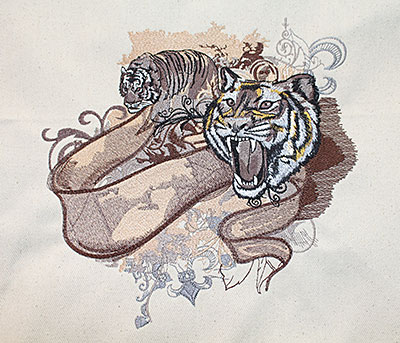 Fashion Tigers embroidery design