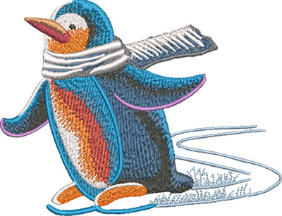 penguin skate embroidery design