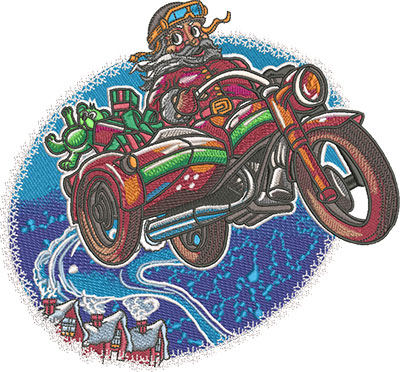 flying santa embroidery design