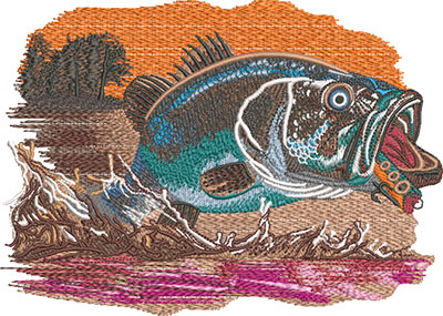 bass leaping embroidery design