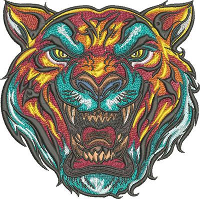 tiger head mascot embroidery design