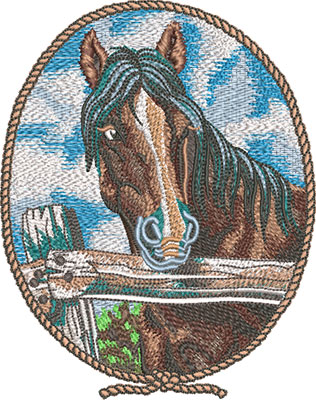 horse cameo embroidery design