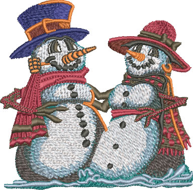 snowman couple embroidery design