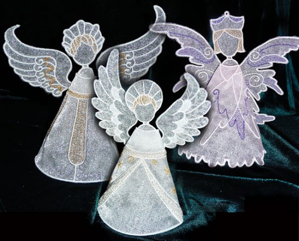 In-the-hoop embroidery Christmas angels