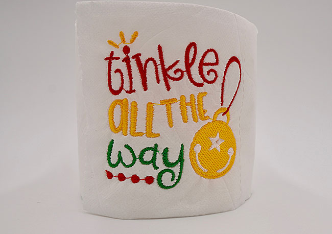 Finished Machine Embroidery on Toilet Paper