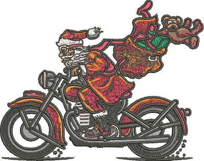 santa on motorcycle embroidery design