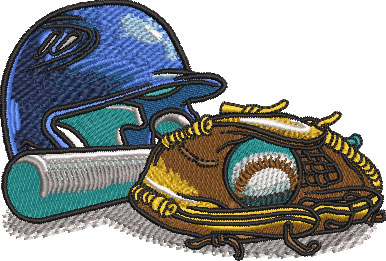 baseball comic equipment embroidery design