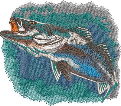 speck fish swimming embroidery design