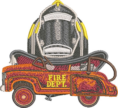 toy fire truck embroidery design