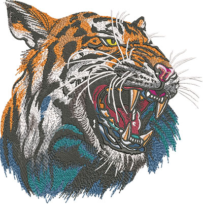 roaring tiger embroidery design