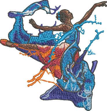 splash dancing embroidery design