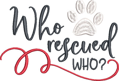 who rescued who embroidery design
