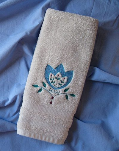 Embroidering on hand towels