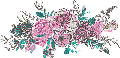 artistic bouquet embroidery design