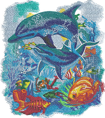 dolphin scene embroidery design