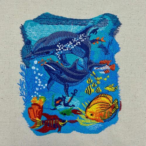 dolphin scene embroidery design