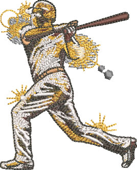 gold baseball player embroidery design