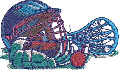 lacrosse comic equipment embroidery design