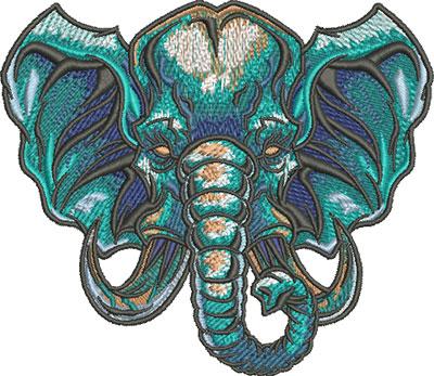 elephant head mascot embroidery design
