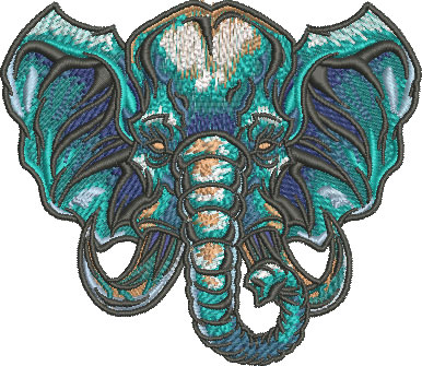 elephant head mascot embroidery design