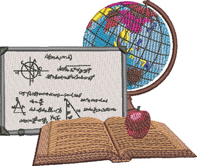 globe and white board embroidery design
