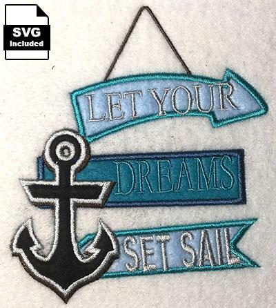 dreams set sail embroidery design