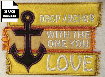 beach applique drop anchor embroidery design