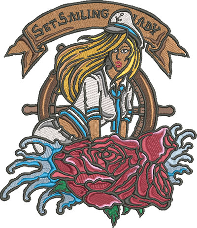 sailor girl embroidery design