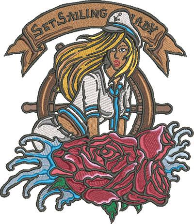 sailor girl embroidery design