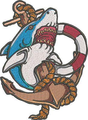 shark and anchor embroidery design