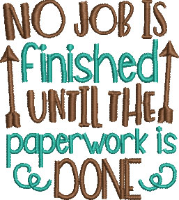 no job finished embroidery design