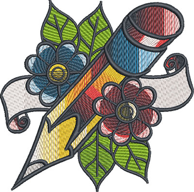tattoo pencil embroidery design