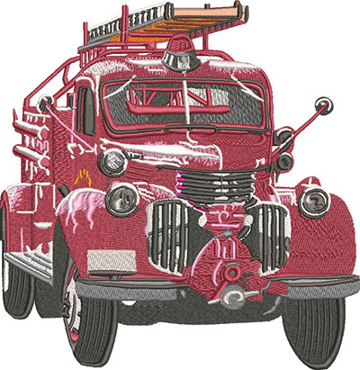 antique firetruck embroidery design