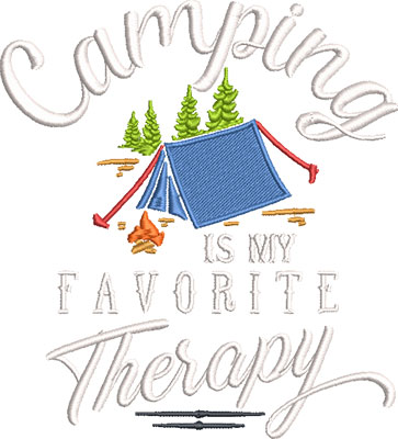 camping therapy embroidery design