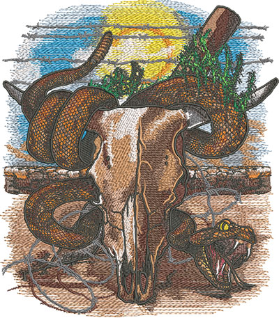 cow skull with snake