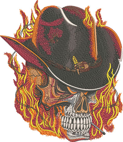 flaming cowboy skull embroidery design