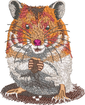 Hamster embroidery design