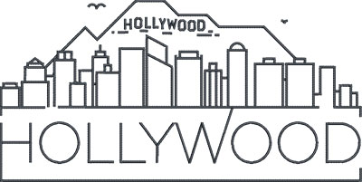 hollywood city skylines embroidery design