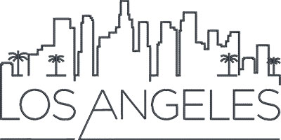 Los Angeles city skyline embroidery design